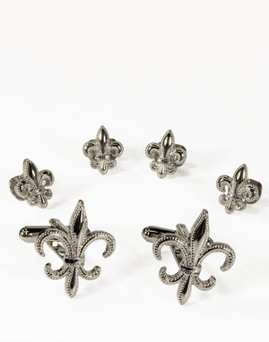 Fleur de Lis Gold or Silver Studs and Cufflinks Set - Silver