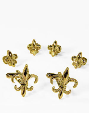 Fleur de Lis Gold or Silver Studs and Cufflinks Set - Gold -