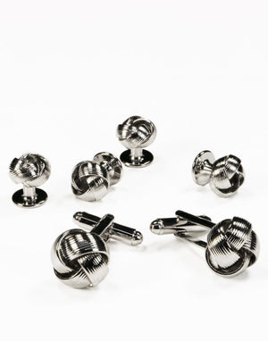Gold or Silver Loveknots Studs and Cufflinks Set - Silver -