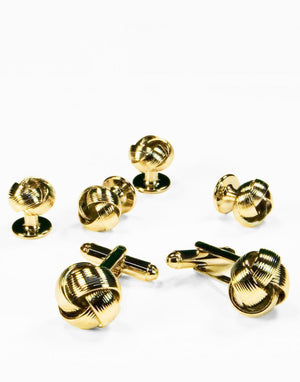 Gold or Silver Loveknots Studs and Cufflinks Set - Gold -