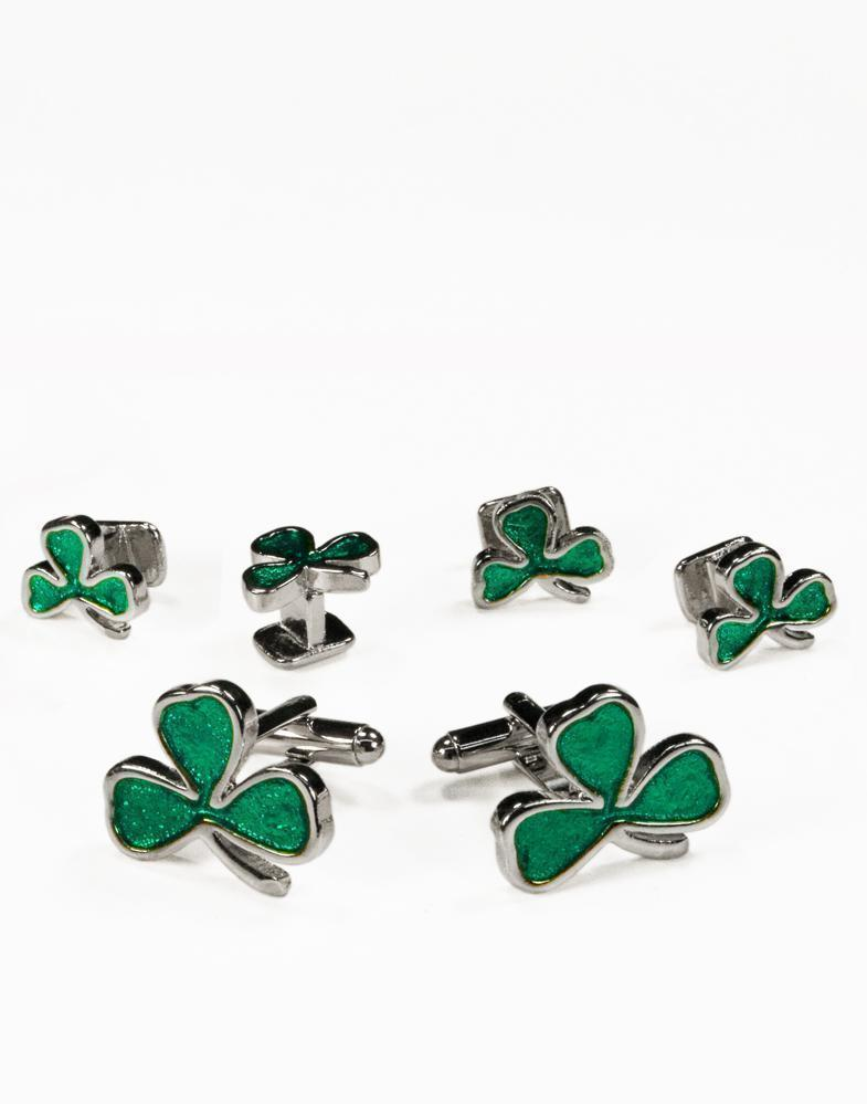 Irish Clovers Silver Studs and Cufflinks Set - Set Botones y