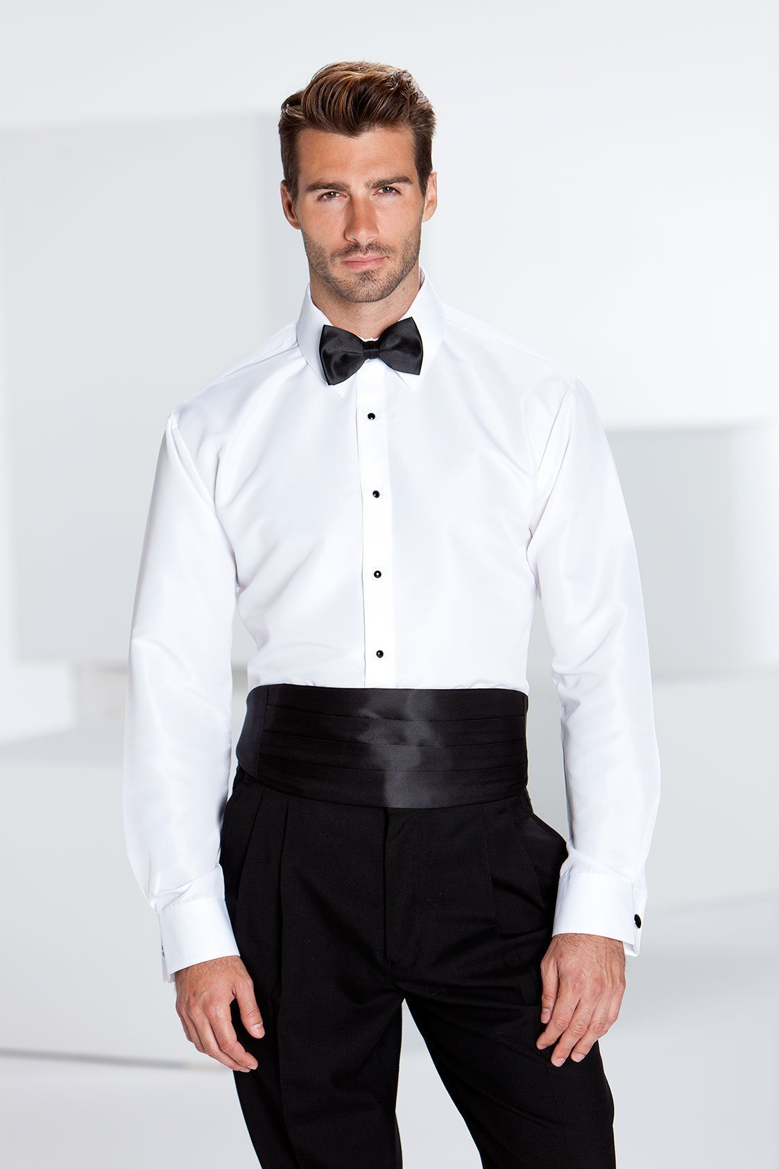 Lido Ivory Laydown Tuxedo Slim Fit Shirt - XS / 30-31 -