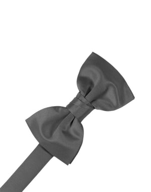 Luxury Satin Bow Tie - Pewter - corbatin caballero