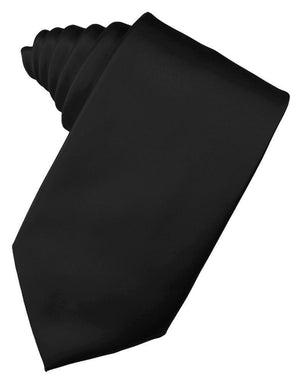 Luxury Satin Necktie Self Tie - Black - corbata Caballero