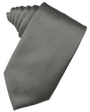 Luxury Satin Necktie Self Tie - Charcoal - corbata Caballero