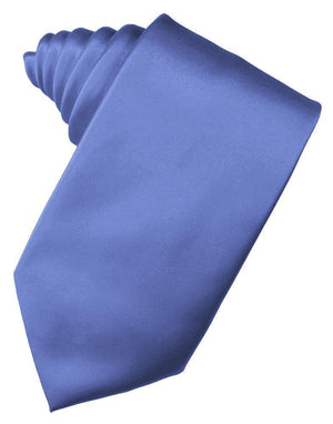 Luxury Satin Necktie Self Tie - Cornflower - corbata