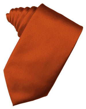 Luxury Satin Necktie Self Tie - Persimmon - corbata