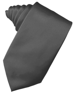 Luxury Satin Necktie Self Tie - Pewter - corbata Caballero