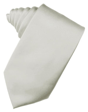 Luxury Satin Necktie Self Tie - Platinum - corbata Caballero