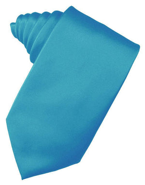 Luxury Satin Necktie Self Tie - Turquoise - corbata