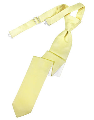 Luxury Satin Skinny Necktie Pre-Tied - Banana - corbata