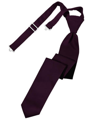 Luxury Satin Skinny Necktie Pre-Tied - Berry - corbata