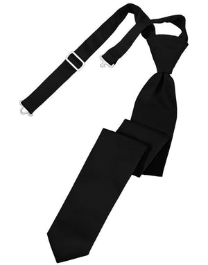 Luxury Satin Skinny Necktie Pre-Tied - Black - corbata