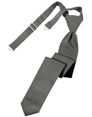 Luxury Satin Skinny Necktie Pre-Tied - Charcoal - corbata