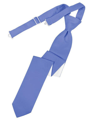Luxury Satin Skinny Necktie Pre-Tied - Cornflower - corbata