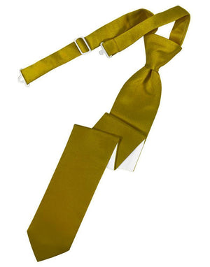 Luxury Satin Skinny Necktie Pre-Tied - Gold - corbata