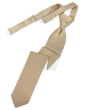 Luxury Satin Skinny Necktie Pre-Tied - Golden - corbata