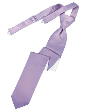 Luxury Satin Skinny Necktie Pre-Tied - Heather - corbata