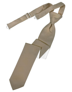 Luxury Satin Skinny Necktie Pre-Tied - Latte - corbata