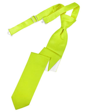 Luxury Satin Skinny Necktie Pre-Tied - Lime - corbata
