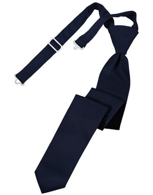 Luxury Satin Skinny Necktie Pre-Tied - Midnight Blue -