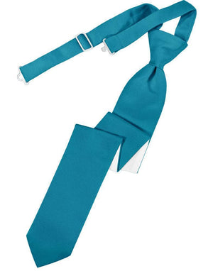 Luxury Satin Skinny Necktie Pre-Tied - Pacific - corbata