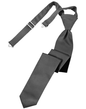 Luxury Satin Skinny Necktie Pre-Tied - Pewter - corbata
