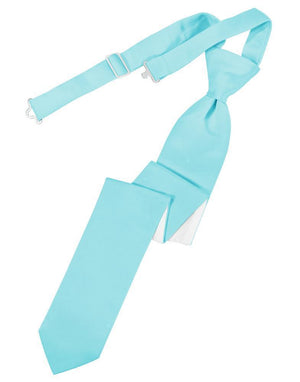 Luxury Satin Skinny Necktie Pre-Tied - Pool - corbata