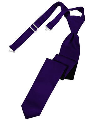 Luxury Satin Skinny Necktie Pre-Tied - Purple - corbata