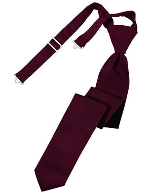 Luxury Satin Skinny Necktie Pre-Tied - Wine - corbata