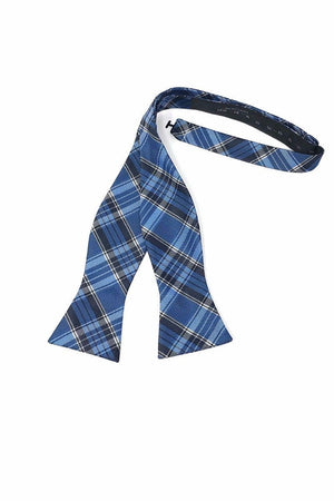 Madison Plaid Bow Tie Self Tie - Blue - corbatin caballero
