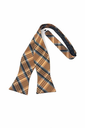 Madison Plaid Bow Tie Self Tie - Orange - corbatin caballero