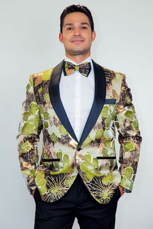 Monte Carlo Tuxedo Jacket Shawl - S / Green - Venta Smoking