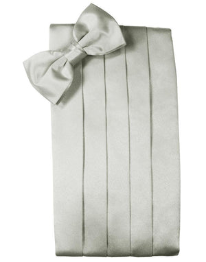 Noble Silk Cummerbund & Bow Tie Set - Platinum - Faja