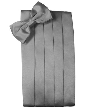 Noble Silk Cummerbund & Bow Tie Set - Silver - Faja
