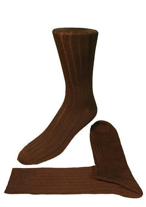 Ribbed Formal Socks - Chocolate - Calcetines Caballero