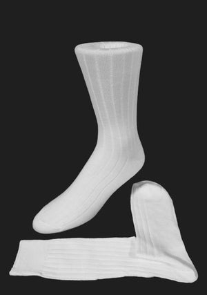 Ribbed Formal Socks - White - Calcetines Caballero