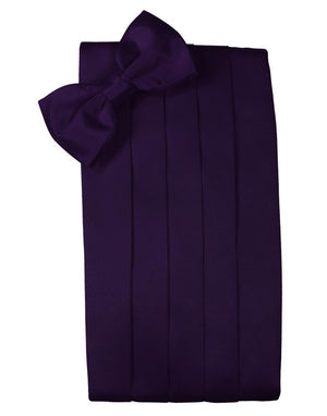 Set Luxury Satin Cummerbund & Bow Tie - Amethyst - Faja