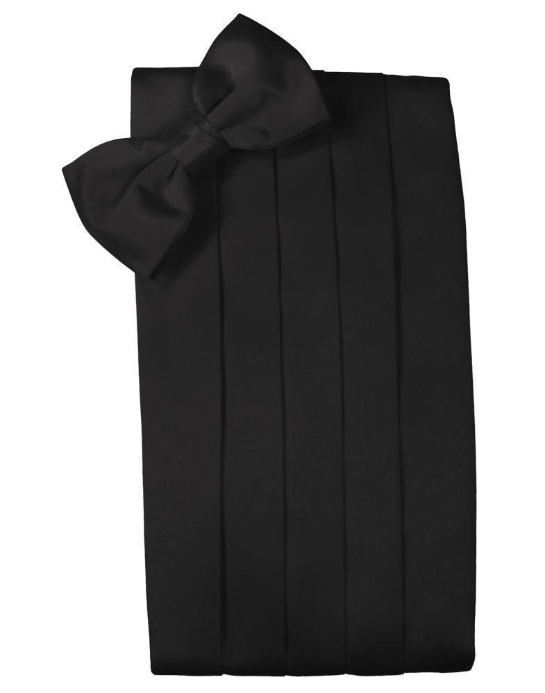 Set Luxury Satin Cummerbund & Bow Tie - Black - Faja