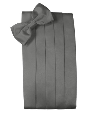 Set Luxury Satin Cummerbund & Bow Tie - Charcoal - Faja