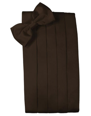 Set Luxury Satin Cummerbund & Bow Tie - Chocolate - Faja