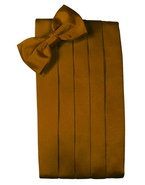 Set Luxury Satin Cummerbund & Bow Tie - Cognac - Faja