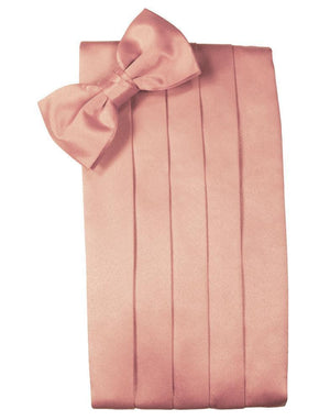 Set Luxury Satin Cummerbund & Bow Tie - Coral - Faja
