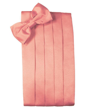 Set Luxury Satin Cummerbund & Bow Tie - Coral Reef - Faja