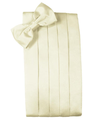 Set Luxury Satin Cummerbund & Bow Tie - Ivory - Faja