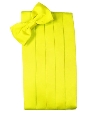 Set Luxury Satin Cummerbund & Bow Tie - Lemon - Faja