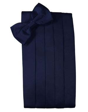 Set Luxury Satin Cummerbund & Bow Tie - Marine - Faja