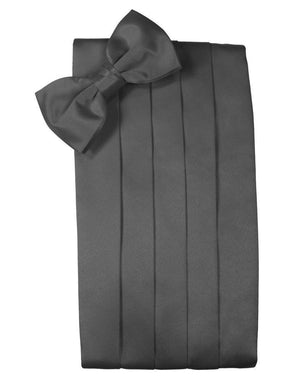 Set Luxury Satin Cummerbund & Bow Tie - Pewter - Faja