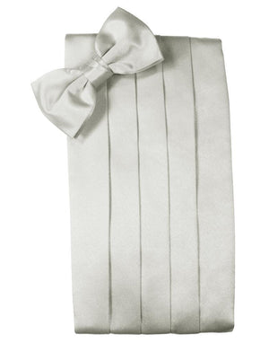 Set Luxury Satin Cummerbund & Bow Tie - Platinum - Faja