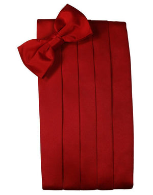Set Luxury Satin Cummerbund & Bow Tie - Scarlet - Faja